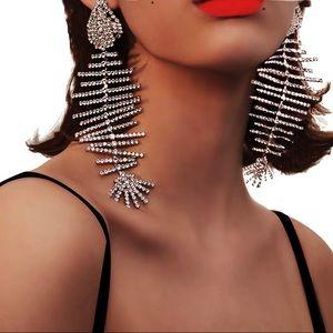 Jewelry - Hot! Rhinestone Fish Bone chandelier Earrings!